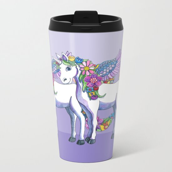 Unicorn Twins Metal Travel Mug