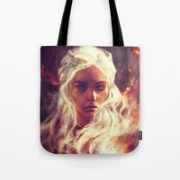 khaleesi Tote Bags featuring Fireheart by Alice X. Zhang