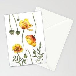 Yellow Poppy flowers Stationery Cards