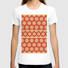 Japanese Style Floral Motif Kimono Pattern red gold T-shirt