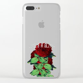 Life's a Glitch Roses. Vaporwave Otaku Glitch Art Print Gif graphic Clear iPhone Case