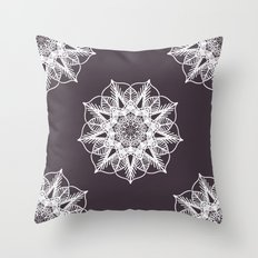 Dark Purple and White Mandala Throw Pillow