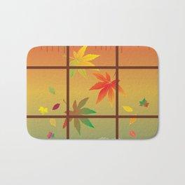 Falling Leaves on Window Pane Bath Mat