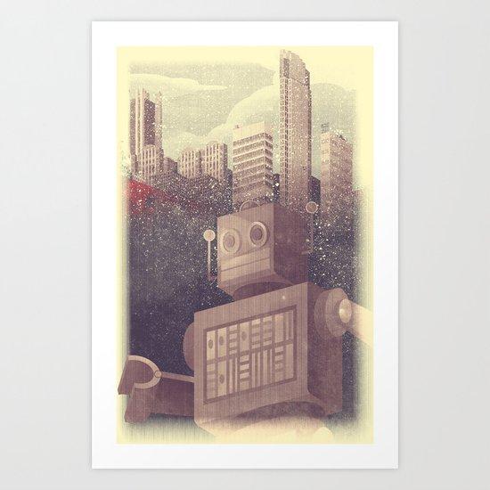 A City Snow-Bot Art Print