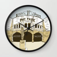 pittsburgh Wall Clocks featuring Pittsburgh Baseball by K. Sekelsky