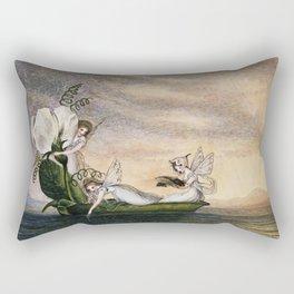 """Fairies Floating Downstream"" by Amelia Jane Murray Rectangular Pillow"