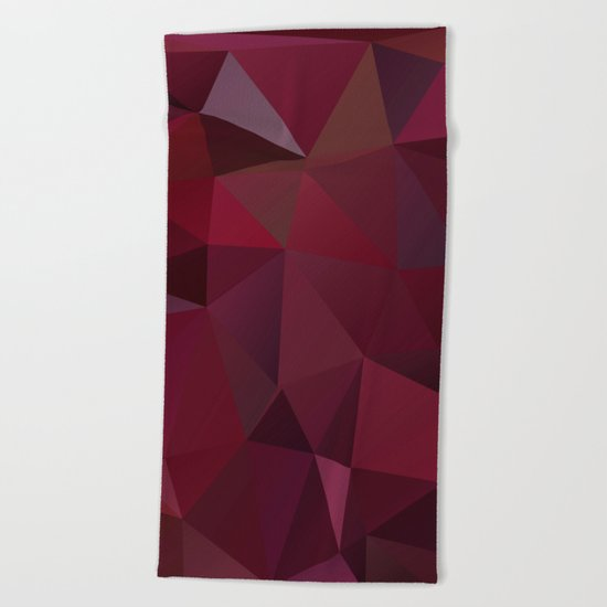 Abstract background of triangles polygon design red marsala colors Beach Towel