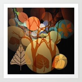 Trees and leaves in sun spots Art Print
