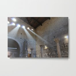 Sun peeks through the entrance to the Catacombs of Rome Metal Print