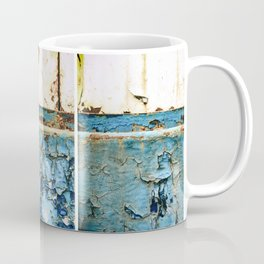 Rust on Blue and White Metal Triptych Coffee Mug