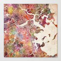 boston map Canvas Prints featuring Boston by MapMapMaps.Watercolors