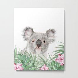 Koala, Tropical leaves and flowers, Animal, Nursery, Trendy decor, Interior Art Print Metal Print