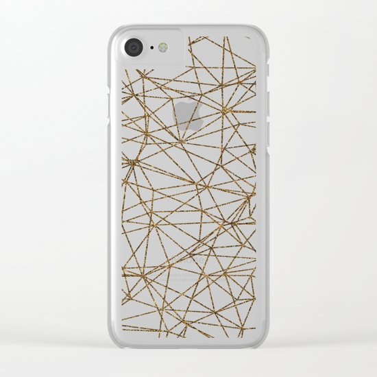 Geometric triangles glitter pattern. Modern stylish texture. Gold trendy glitter print background Clear iPhone Case