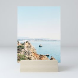 Coast of Lagos, Algarve in Portugal | Bright and airy seascape photography art Mini Art Print