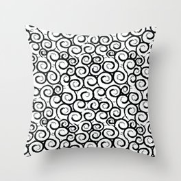 Abstract swirl, snail pattern. Black and white print. Throw Pillow