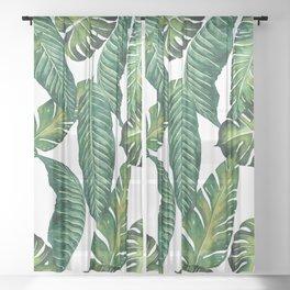 Jungle Leaves, Banana, Monstera II #society6 Sheer Curtain