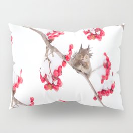 Cute Squirrel With Red Rowan Berries On A White Background #decor #society6 #buyart Pillow Sham