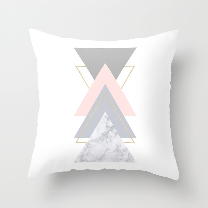 Blush Marble Gray Gold Geometric Pattern Throw Pillow By