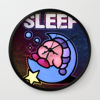 kirby Wall Clocks featuring Kirby Sleep by likelikes