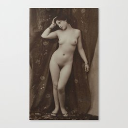 Victorian Vintage Posing Lady Erotic French Nude Postcard Canvas Print