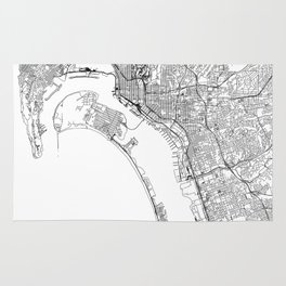 San Diego White Map Rug