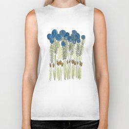 Tall skinny blue flowers with cattails Biker Tank