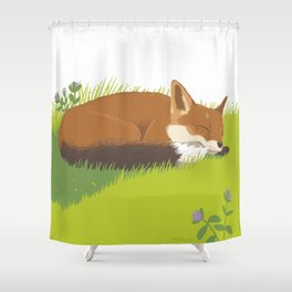 Snoozy Red Fox Shower Curtain