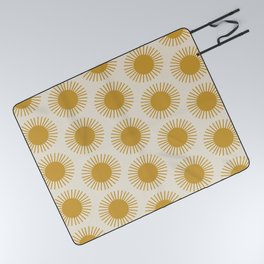 Golden Sun Pattern Picnic Blanket