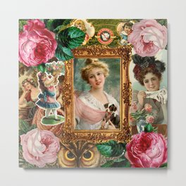 victorian collage of woman Metal Print