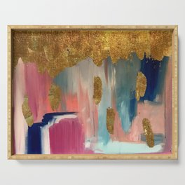 Gold Leaf & Indigo Blue Abstract Serving Tray