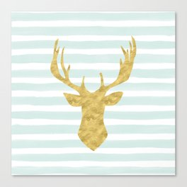 Gold Deer on Mint Watercolor Stripes Canvas Print