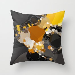delphine - dark abstract design of rust orange brown black and yellow Throw Pillow