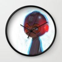 mega man Wall Clocks featuring Mega Man 25th Anniversary by jaimito
