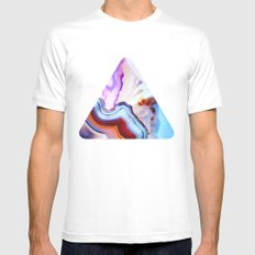 Agate, a vivid Metamorphic rock on Fire MEDIUM Mens Fitted Tee White