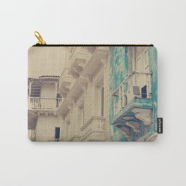 Grunge Summer Town (Retro and Vintage Urban, architecture photography, blue and cream) Carry-All Pouch