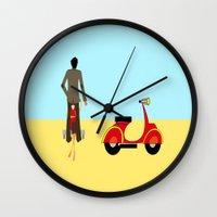 vespa Wall Clocks featuring VESPA by Joe Pansa