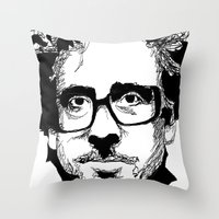 tim burton Throw Pillows featuring Tim Burton in colors by burro by BURRO