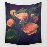 antique Wall Tapestries featuring Antique Rose by A Wandering Soul