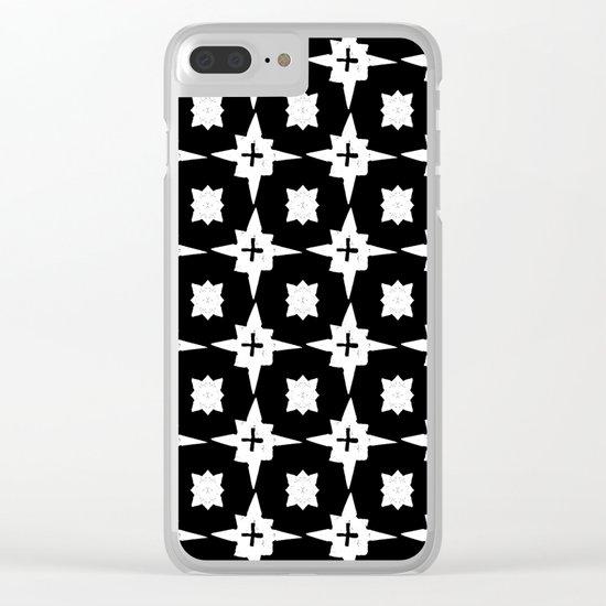 Linocut scandinavian minimal printmaking pattern blockprint black and white Clear iPhone Case