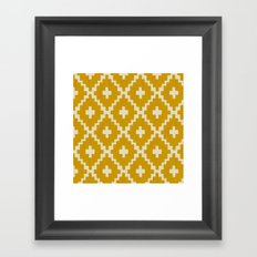 Navajo Diamonds Gold on Ivory Framed Art Print