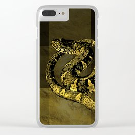 Gold and Black Snake Digital art Clear iPhone Case