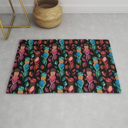 Afros, Blooms, Pink, and Blue Rug