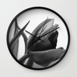 Tulip Blooming In Black And White Wall Clock