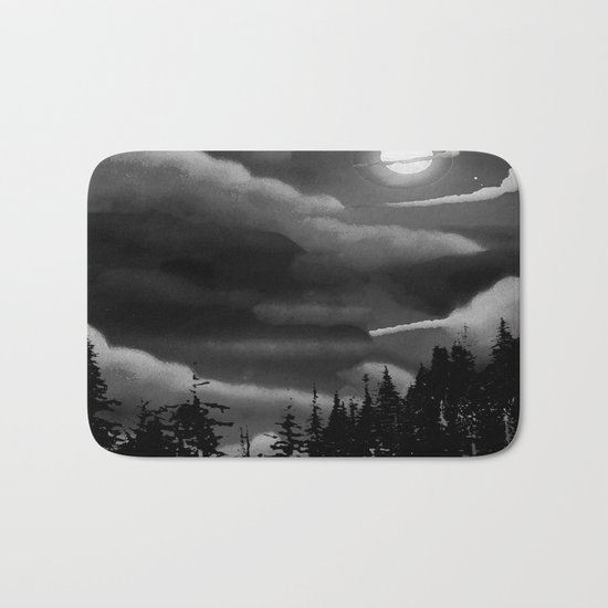 Bright Cloudy Night Sky in Black and White Bath Mat