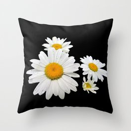 Think Flowers - Shasta Daisies Throw Pillow