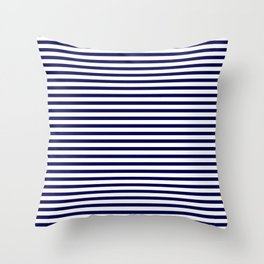 Navy Blue & White Maritime Small Stripes - Mix & Match with Simplicity of Life Throw Pillow
