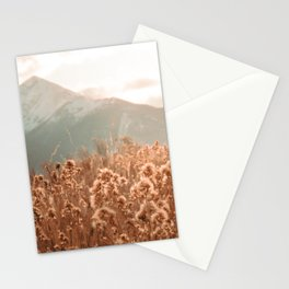 Golden Wheat Mountain // Yellow Heads of Grain Blurry Scenic Peak Stationery Cards