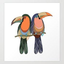Two toucans Illustration Art Print