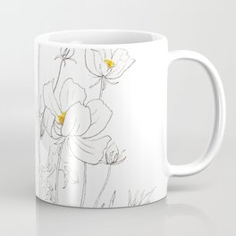 white cosmos flowers  ink and watercolor Coffee Mug