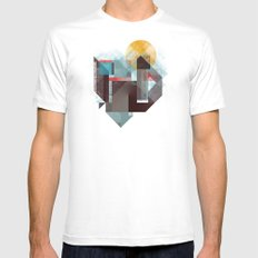 Over mountains MEDIUM White Mens Fitted Tee